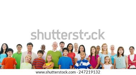 Large Crowd of Community  People Unity Support Concept - stock photo