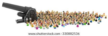 Large crowd of small symbolic 3d figures, with cannon, over white - stock photo