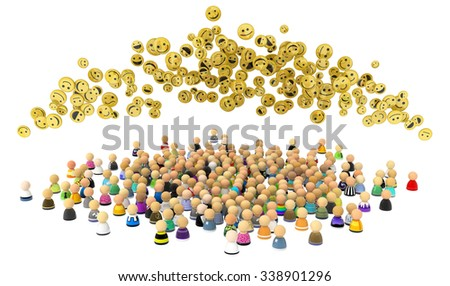 Large crowd of small symbolic 3d figures, with happy faces, over white - stock photo