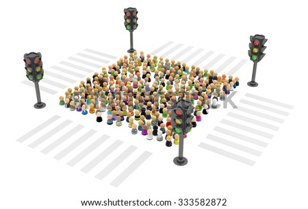 Large crowd of small symbolic 3d figures, with traffic light, over white - stock photo