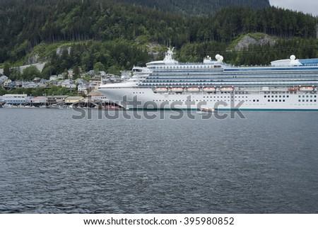 Large cruise ship docked at the port of Ketchikan, Alaska - stock photo