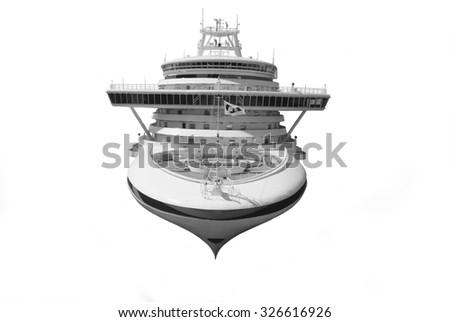 Large cruise ship isolated over white background - stock photo