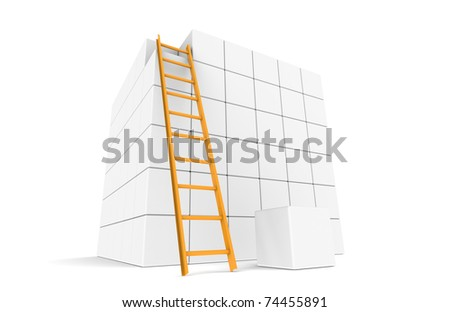 Large Cube with ladder and the Last piece - stock photo
