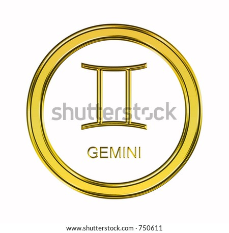 Large 3 D Gold Gemini Symbol On Stock Illustration 750611 Shutterstock