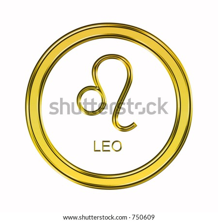 Large 3D gold leo symbol on pure white background - stock photo
