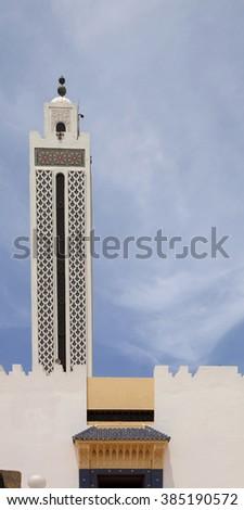 large decorated minaret, Casablanca, Morocco  - stock photo