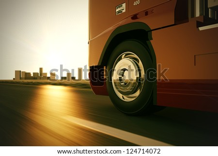 Large delivery truck is moving fast on the road while sunset. - stock photo