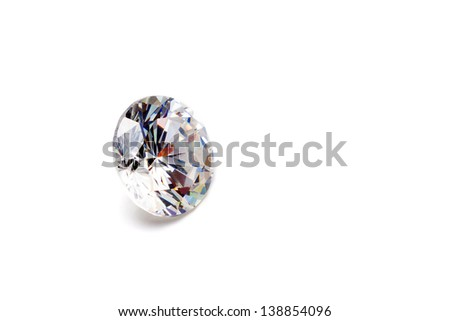 Large diamond isolated on a white background - stock photo