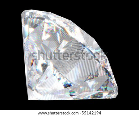 Large diamond with sparkles over black background. Extralarge resolution.  Other gems are in my portfolio. - stock photo