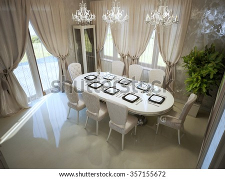 Large dining table in spacy room modern style trend. White furniture, cream curtains, panoramic view. 3D render - stock photo