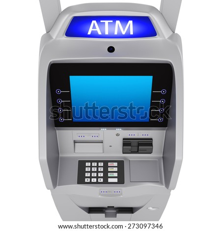 Large display in the banking terminal. The dial keypad modern ATM on a white background - stock photo