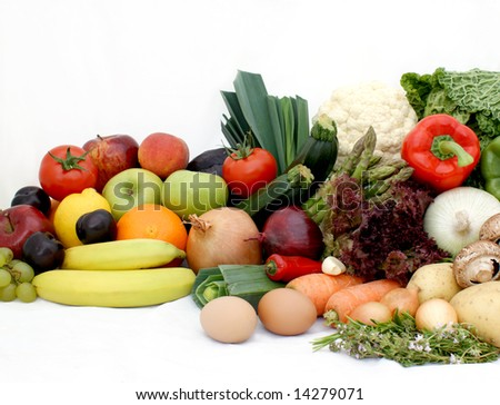 Large display of various fruit and vegetables