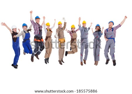 Large diverse group of workmen and women leaping in the air and cheering at the successful completion of a team project isolated on white - stock photo