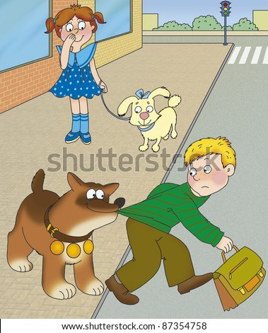 large dog stopped a boy who wants to cross the road - stock photo