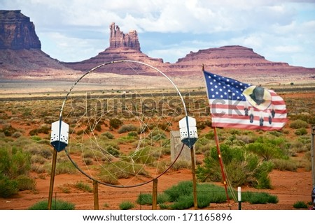 Large Dreamcatcher and Flag in Navajo Nation Territory - Arizona, United States. - stock photo