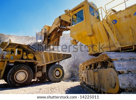 Large earth moving heavy equipment - stock photo
