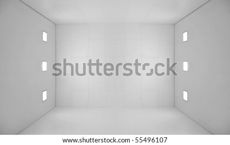 Large empty room with a wooden floor and white wooden tile walls with square lights on the ceiling and lots of open blank empty space. - stock photo