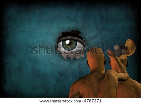 Large eye watches cognition change - stock photo