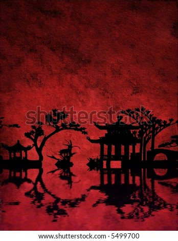 Large File Chinese Red Landscape - stock photo
