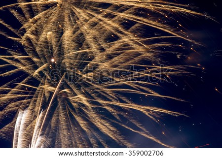 Large Fireworks Display.  Finale of a colorful fireworks celebration. - stock photo