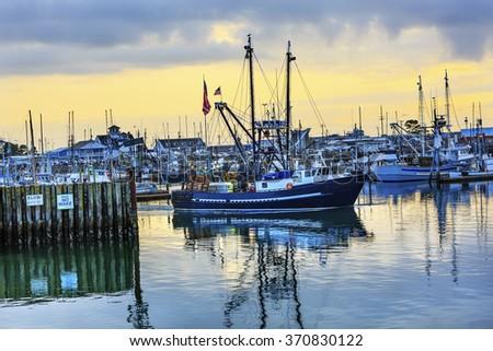 Large Fishing Boat Westport Grays Harbor Puget Sound Washington State Pacific Northwest - stock photo