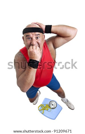Large fitness man with weight scale isolated in white - stock photo