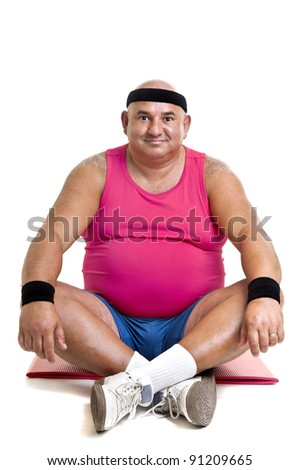 Large fitness man working out isolated in white - stock photo