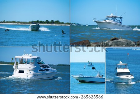 Large format boating montage showing variety of boat styles and sizes - stock photo