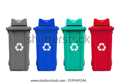 Large four color garbage bins with wheel isolated with clipping path