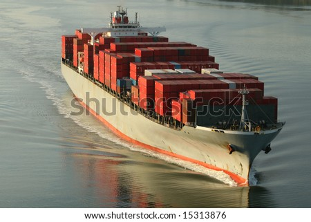 Large Freight Ship - stock photo