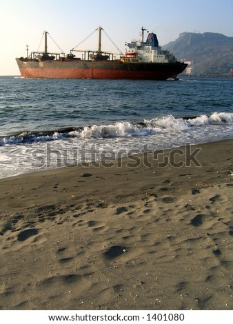 Large Freighter -- seen from the beach