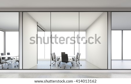 Large, furnished office interior. 3D Rendering - stock photo