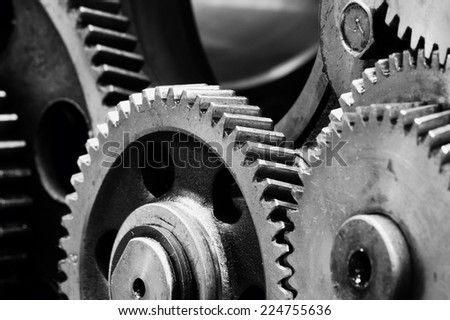 Large gears in the engine. - stock photo