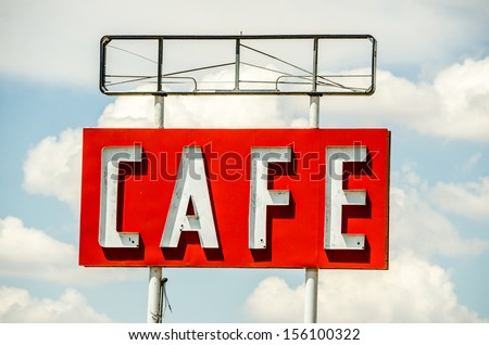Large generic sign for a cafe on Route 66. - stock photo