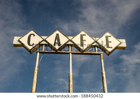 Large, generic sign for a cafe on Route 66. - stock photo