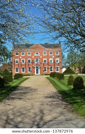 Large Georgian Country Home with drive - stock photo