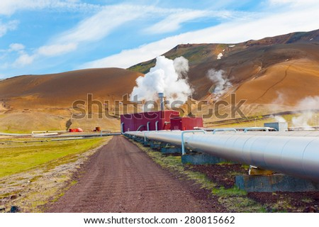 Large geothermal plant pumping heat from the Krafla volcano, Iceland - stock photo