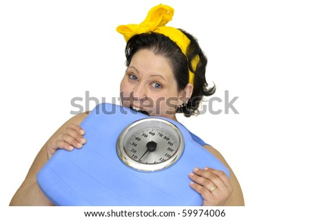 Large girl eating a scale isolated in white - stock photo