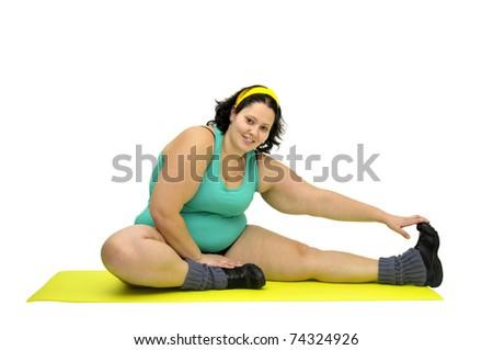 Large girl exercising isolated in white - stock photo