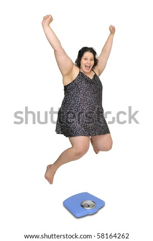 Large girl in nightie jumping over a scale isolated in white - stock photo
