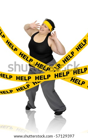 Large girl isolated in white with yellow tape - stock photo