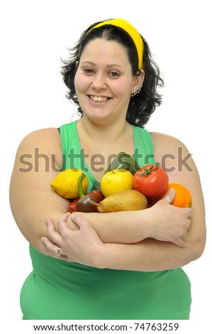Large girl with fruit and vegetables  isolated in white - stock photo