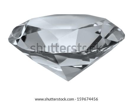Large Glass Diamond Cubic Zirconia Isolated on White Background. - stock photo