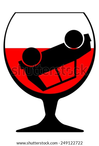 Large glass of wine and a car on a white background