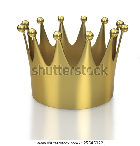 Large golden crown or coronet on white background - stock photo