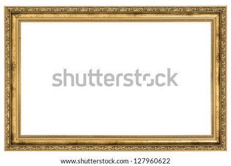 large golden frame isolated on white background - stock photo