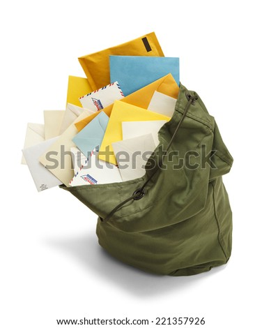 Large Green Mail Bag with Envelopes Spilling Out Isolated on White Background. - stock photo