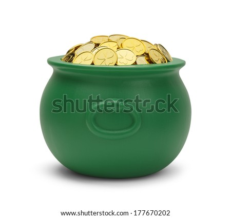 Large Green Pot with Colver Gold Coins Isolated on White Background. - stock photo
