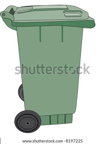 Large green rubbish bin with wheels (also available as a vector)
