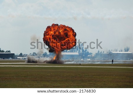 Large ground explosion with flame and smoke - stock photo